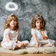 Two sisters with angel wings — Stock Photo #29131853