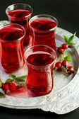 Herbal tea in turkish traditional tea glasses — Stock Photo