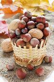Olika nötter i en flätad korg — Stockfoto