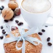 Stock Photo: Almond cookies and cappuccino