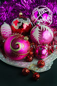 Red and pink Christmas decorations — 图库照片