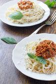 Pasta spaghetti with sauce basil and parmesan — ストック写真