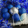 Blue Christmas decorations  — ストック写真