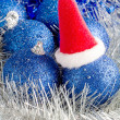 Blue Christmas balls and tinsel — Stock Photo