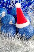 Enfeites e bolas de Natal azul — Fotografia Stock