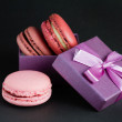 Macaroon in a gift box — Stock Photo