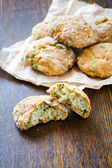 Snack scones with basil and parmesan  — Stock Photo