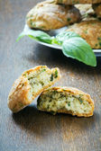 Cookies with basil and parmesan  — Stock Photo