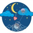 Spiders and Heart under the Moon — Stock Vector