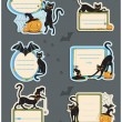 6 Cat Halloween Labels — Stock Vector