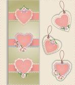 Etiquetas de corazón — Vector de stock