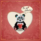 Panda Valentine — Stock Vector