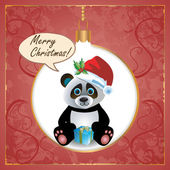 Panda vánoční přání — Stock vektor