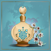Perfume bottle and lilies — Stock Vector