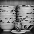 Crockery in the wood larder — Stock Photo