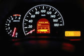 Speedometer and other gauges in the car — 图库照片