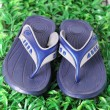 Blue Slippers on green grass — Stock Photo