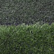 Stock Photo: Grass football field with gravel.