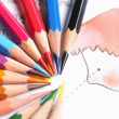 Colored pencils painting a backdrop. — Stock Photo
