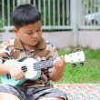 Boy playing the ukulele fun. — Stock Photo
