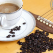 Stockfoto: Coffee beans on guitar