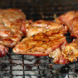 Grilled pork was hot BBQ — Stock Photo