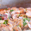 Spicy fried Shellfish fried in a pan — Stock Photo