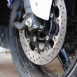 Foto de Stock  : Front wheel brake. Big motorcycle