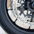 Front wheel brake. Big motorcycle — Stock Photo