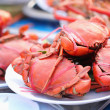 Many red crabs for sale on market — Stock Photo