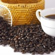Coffee beans on white backgrond — Stock Photo
