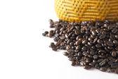 Coffee beans on white backgrond — ストック写真