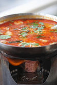Tom Yum Kung soup with seafood — ストック写真