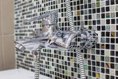 Stainless steel kitchen faucet and sink — Photo