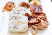 Japanese food with grilled squid — Stock Photo