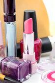 Cosmetics isolated on white background. Pink lipstick, mascara, — Foto Stock