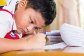 The boy work homework carefully. — Stockfoto