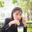 Asiyoung businesswomen Are using phone to communicate — Stock Photo #40592141