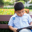 Stock Photo: Asiboy playing Tablet fun