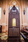 Wnętrze kościoła konfesjonale — Zdjęcie stockowe