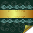 Abstract greeting card with Gold and Green elements — Stock Vector