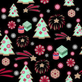 Christmas tree pattern on black background — Stock Vector