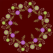 Floral pattern on dark red backgruond — Stock Vector