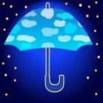 Silhouette of umbrella in the night — Stock Vector #34195297