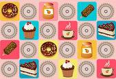 Background with cakes — Stock Vector
