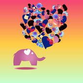Template greeting card with elephant — Vettoriale Stock