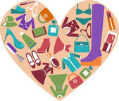 Heart shape with icons set of Fashion elements — Stock Vector