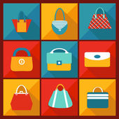 Color Flat Icon of Fashion bag  — Vector de stock