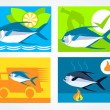 Icons set for the website fresh fish delivery seller's and fish — Stock Vector