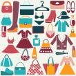 Stock Vector: Clothes and accessories vintage icons